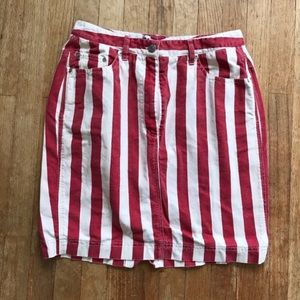 Vintage DKNY Jeans Red & White Stripe Denim Skirt